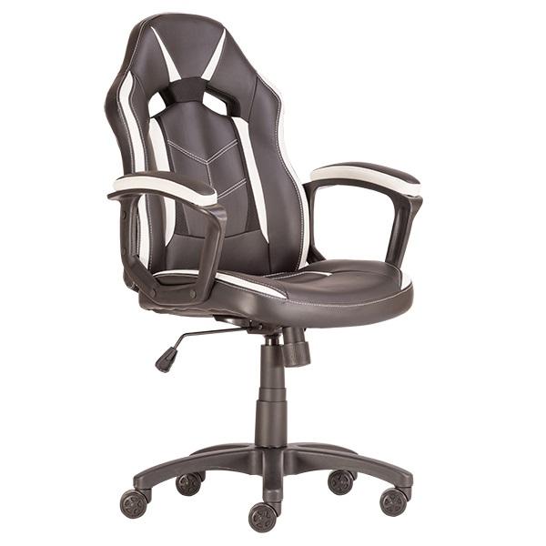 Fiatalos és kényelmes gamer szék fekete fehér színben