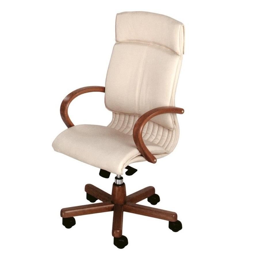 Főnöki szék bőrkárpittal és fa elemekkel